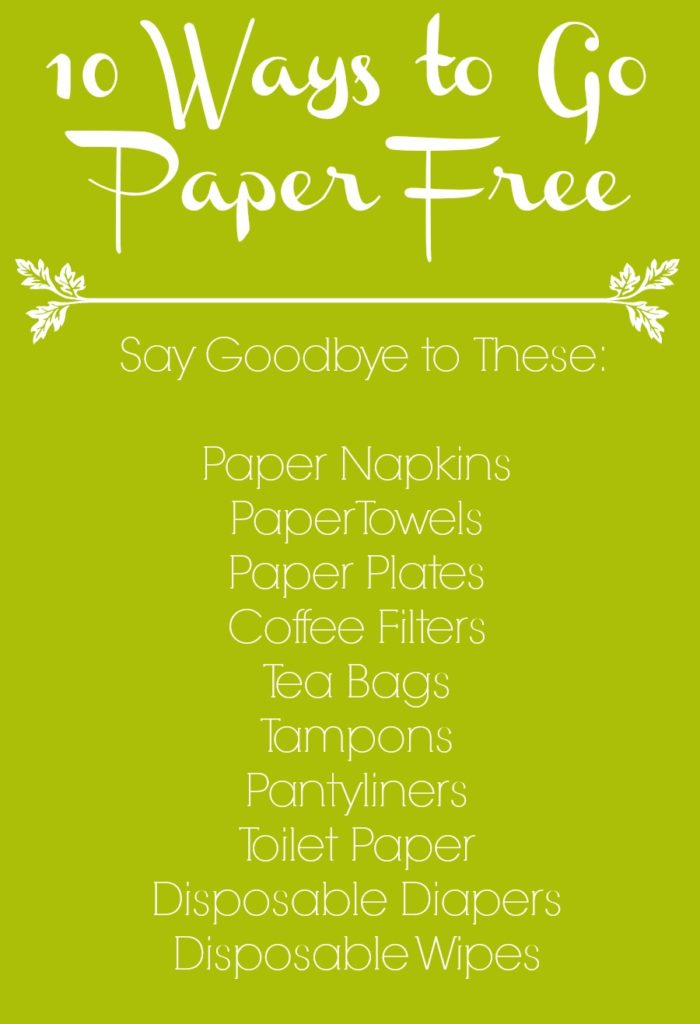 10 Ways to Go Paper Free - You can either dive right in and replace all your paper products at once or you can take things slowly and change them one by one to give yourself some time to adjust to this reusable way of living.