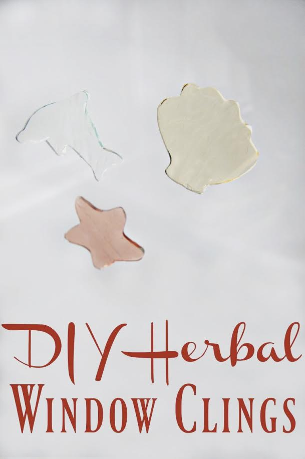 Skip the plastic and the artificial dyes and instead give your kids hours of fun with these diy herbal window clings! Fun to play with, fun to make!