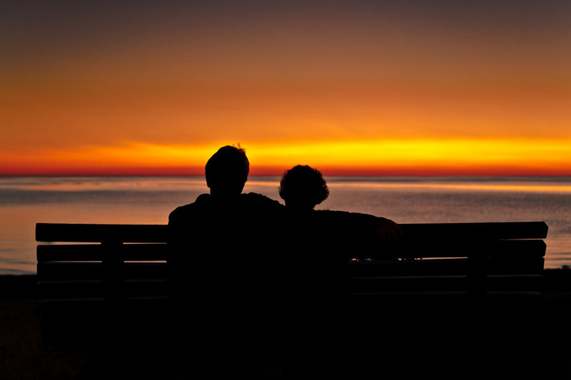 couple and sunset