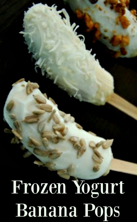 Frozen Yogurt Banana Pops - A great healthy alternative to sugar full popsicles! You even get probiotics from the yogurt!