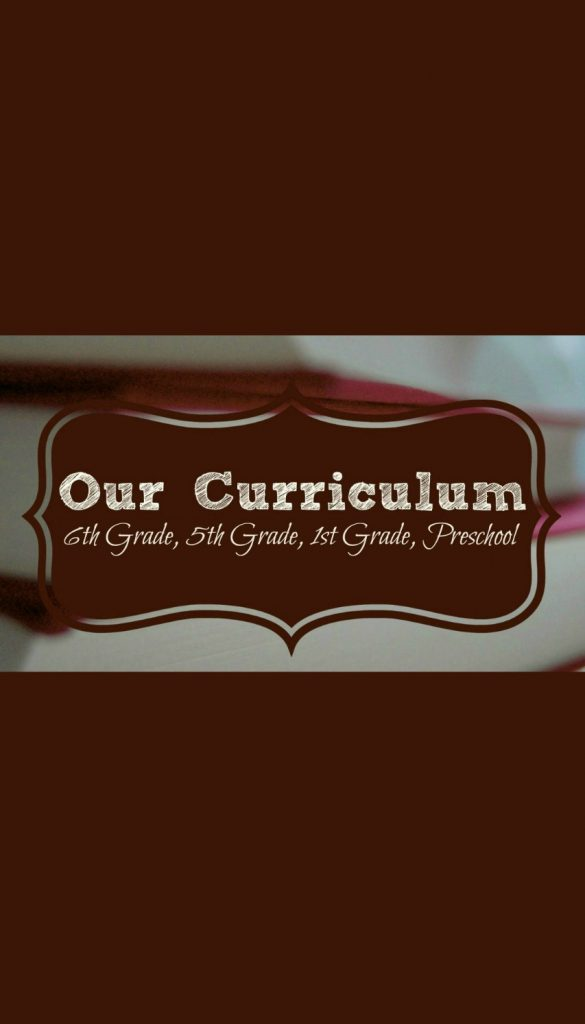 Our homeschool curriculum choices for a 6th grader, 5th grader, 1st grader, and preschooler.